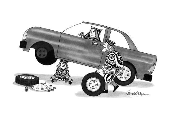 A King, a Queen and a Jack are fixing the flat tire on a car. The Jack is ? - New Yorker Cartoon-J.B. Handelsman-Premium Giclee Print