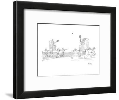 A king and queen play tennis, being carried around the court by servants. - Cartoon-Jack Ziegler-Framed Premium Giclee Print