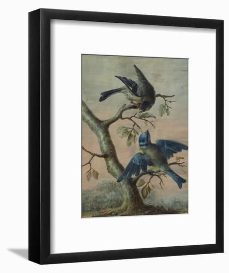 A Kingfisher on a Sapling; and a Blue Tit with a Finch on a Sapling-Christoph Ludwig Agricola-Framed Premium Giclee Print