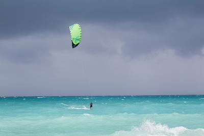 A Kiteboarder Enjoying Gusty Winds Created by Hurricane Tomas-Mike Theiss-Photographic Print