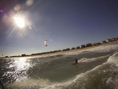A Kiteboarder on a Wave in the Atlantic Ocean Off Nags Head-Skip Brown-Photographic Print