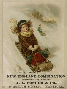 A. L. Foster & Co., A Girl on a Toboggan Sledding Down Hill, National Museum of American History