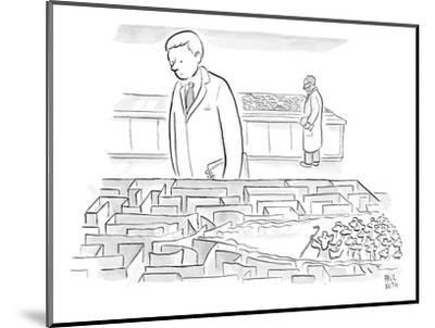 A laboratory scientist looks on as the walls of a small maze are divided b? - New Yorker Cartoon-Paul Noth-Mounted Premium Giclee Print