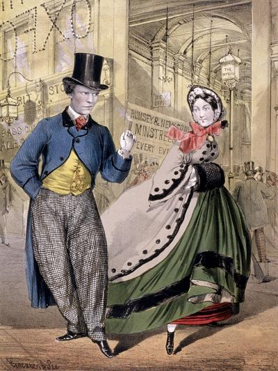 A Lady and a Gentleman by the Entrance to the Oxford Music Hall, Oxford St, Westminster, C1860-Concanen & Lee-Giclee Print