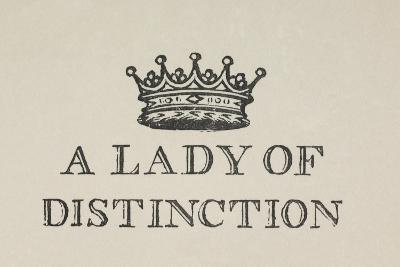 A Lady Of Distinction'. Illustration Of a Crown With Text-Thomas Bewick-Giclee Print