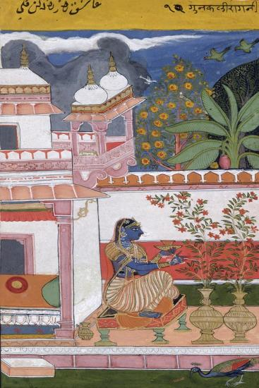 A Lady Picking Flowers from a Pot, Bundi, Rajasthan, Rajput School, C.1680--Giclee Print