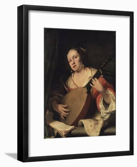 A Lady Playing the Lute, 1654-Ferdinand Bol-Framed Giclee Print