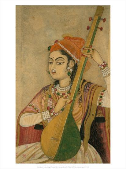 A Lady Playing the Tanpura, 1735-Unknown-Art Print