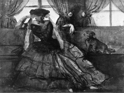 A Lady with Her Dog, 19th Century-Constantin Guys-Giclee Print