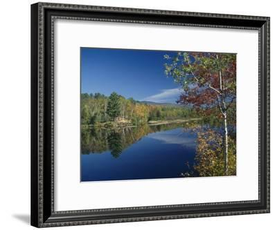 A Lake Surrounded by Trees Displaying the Colors of Autumn-Richard Nowitz-Framed Photographic Print