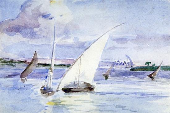 'A Lake with Sailing Boats', c1864-1930-Anna Lea Merritt-Giclee Print
