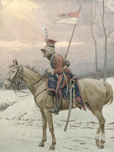 A Lancer of Napoleon's Polish Guards on Winter Patrol-Jan Van Chelminski-Giclee Print