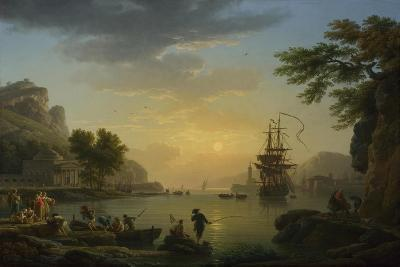 A Landscape at Sunset with Fishermen Returning with their Catch, 1773-Claude Joseph Vernet-Giclee Print