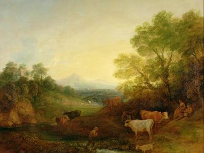 A Landscape with Cattle and Figures by a Stream and a Distant Bridge, c.1772-4-Thomas Gainsborough-Giclee Print
