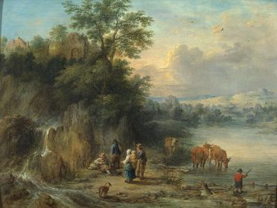 A Landscape with Peasants and Cattle by a River-Theobald Michau-Giclee Print
