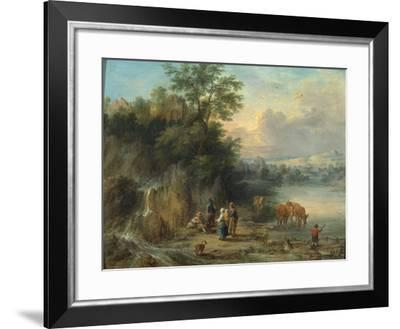 A Landscape with Peasants and Cattle by a River-Theobald Michau-Framed Giclee Print