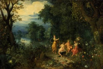 A Landscape with Wood; Diana Offers a Hare to a Nymph; Silenus and Ceres in Foreground, C1614-Abraham Govaerts-Giclee Print