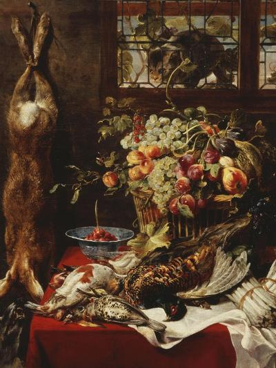 A Larder Still Life with Fruit, Game and a Cat by a Window-Frans Snyders Or Snijders-Giclee Print