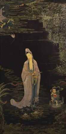 A Large Chinese Lacquered Painted Wood Rectangular Panel Depicting a Standing Model of Guanyin…