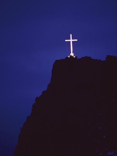 A Large Cross Situated on a Rocky Headland-George F^ Mobley-Photographic Print