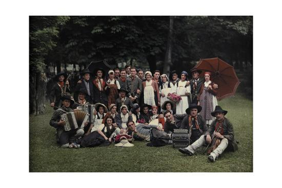 A Large Group of Peasants Pose at the Geneva Folk Costume Festival-Hans Hildenbrand-Photographic Print