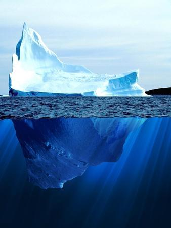 A Large Iceberg in the Cold Blue Cold Water. Collage-Sergey Nivens-Art Print