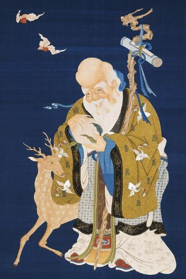 A Large Kesi Hanging Scroll Depicting Shoulao Holding a Peach--Giclee Print