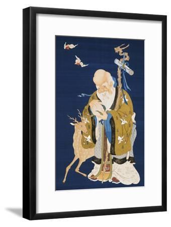 A Large Kesi Hanging Scroll Depicting Shoulao Holding a Peach