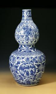 """A Large Ming Blue and White Double Gourd """"Shou"""" Vase, Depicting Young Boys Playing on a Terrace"""