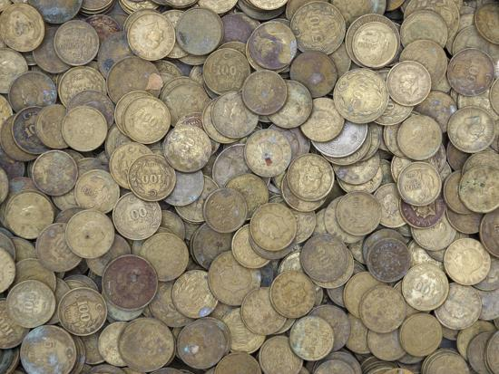 A Large Pile of Old Golden Coins--Photographic Print