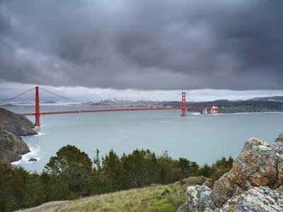 A Large Storm Sweeping into San Francisco Bay at Sunset, with the Golden Gate Bridge-Patrick Smith-Photographic Print