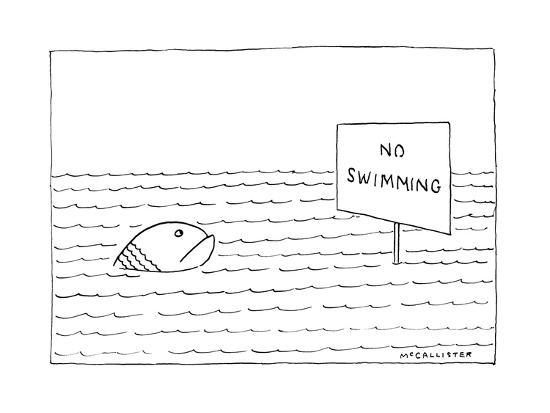 """A large, unhappy-looking fish in a large body of rippling water gazes at a?"""" - New Yorker Cartoon-Richard McCallister-Premium Giclee Print"""