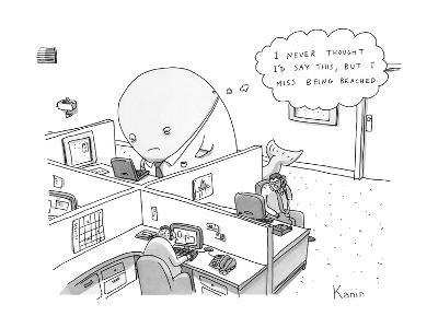 A large whale in a shirt and tie sits in an office cubicle, and has a thou? - New Yorker Cartoon--Premium Giclee Print