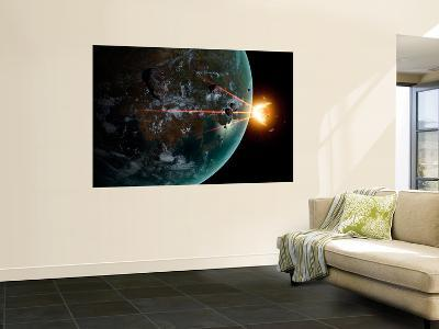 A Laser Anti-Asteroid Defense System Built on an Extraterrestrial World-Stocktrek Images-Wall Mural