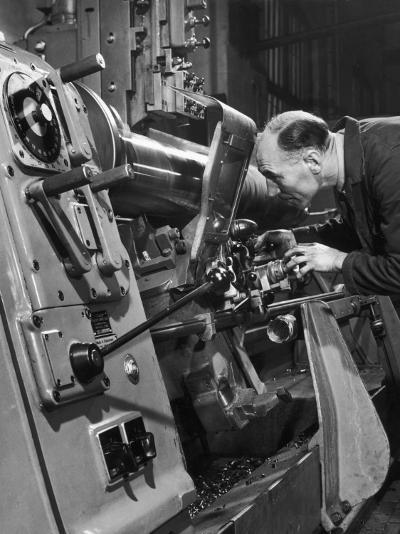 A Lathe Operator at Work-Heinz Zinram-Photographic Print