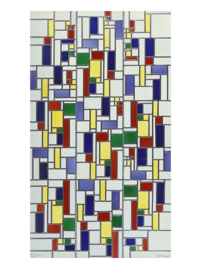 A Leaded and Stained Glass Panel; 'Vetrata Komposite V in Lood'-Theo van Doesburg-Giclee Print