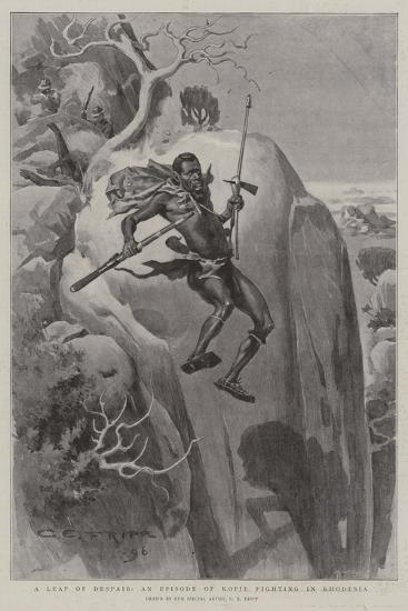 A Leap of Despair, an Episode of Kopje Fighting in Rhodesia-Charles Edwin Fripp-Giclee Print