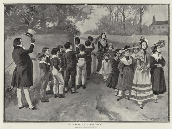 A Lesson in Deportment-Gordon Frederick Browne-Giclee Print