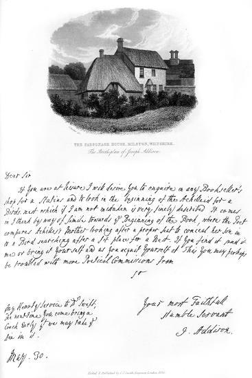 A Letter from Addison, and a View of His Birthplace, Late 17th-Early 18th Century-Joseph Addison-Giclee Print