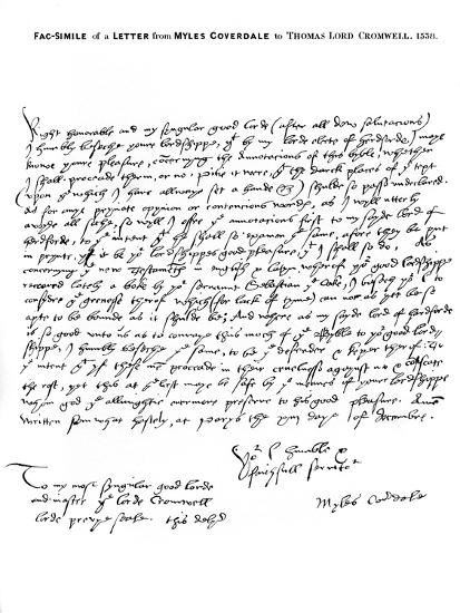 A Letter from Miles Coverdale, Bishop of Exeter, to Thomas Lord Cromwell, 1538-Miles Coverdale-Giclee Print