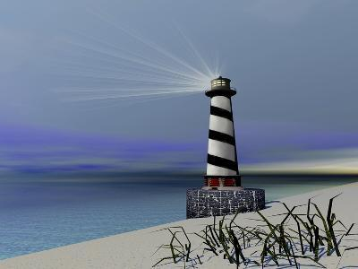 A Lighthouse Sends Out a Light To Warn Vessels-Stocktrek Images-Photographic Print