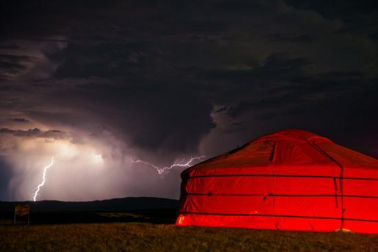 A Lightning Storm Builds over a Ger on the Mongolian Steppe Photographic  Print by Ben Horton | Art com