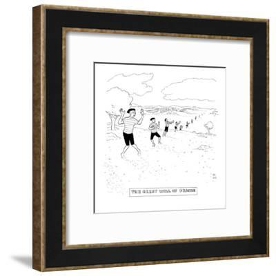 A line of mimes extends on a hilly landscape. - New Yorker Cartoon-Paul Noth-Framed Premium Giclee Print