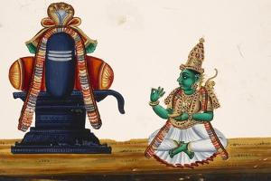 A Linga with the Goddess Parvati Sitting to its Side, from Thanjavur, India