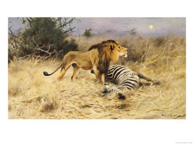 A Lion with His Prey-Wilhelm Kuhnert-Giclee Print