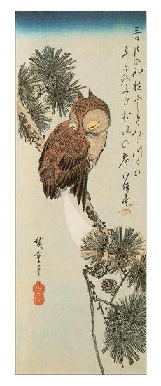A Little Brown Owl on a Pine Branch with a Crescent Moon Behind-Ando Hiroshige-Giclee Print
