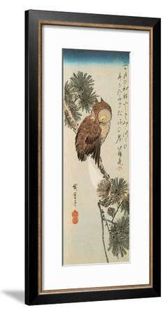 A Little Brown Owl on a Pine Branch with a Crescent Moon Behind-Ando Hiroshige-Framed Giclee Print