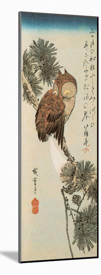 A Little Brown Owl on a Pine Branch with a Crescent Moon Behind-Ando Hiroshige-Mounted Giclee Print
