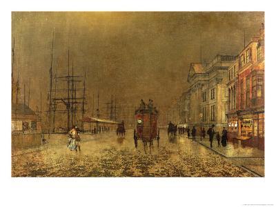A Liverpool Street-John Atkinson Grimshaw-Giclee Print