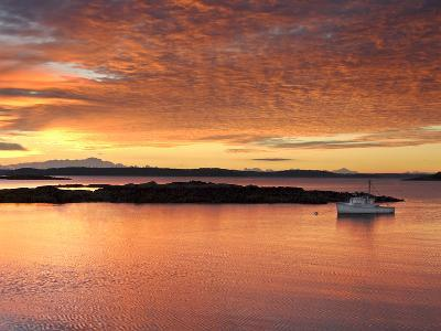 A Lobster Boat in Calm Water at Sunrise-Robbie George-Photographic Print